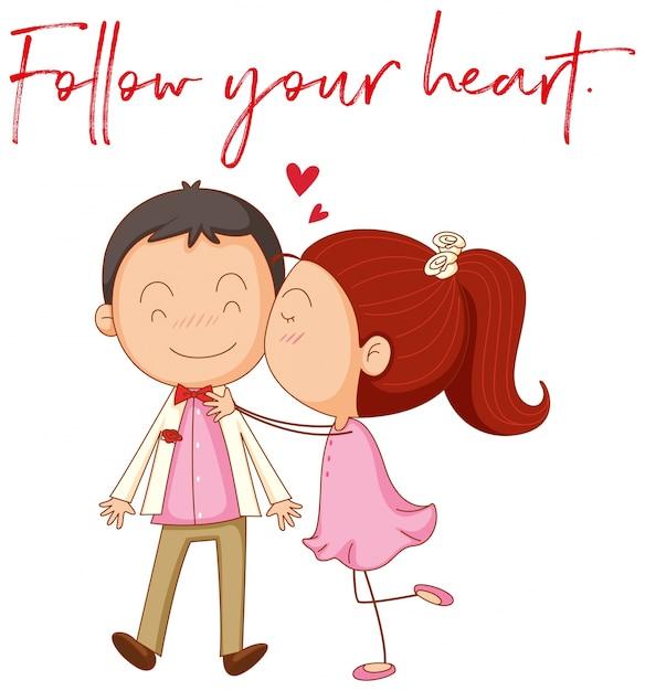 Amor Casal Com Frase Segue Seu Coração Baixar Vetores Grátis