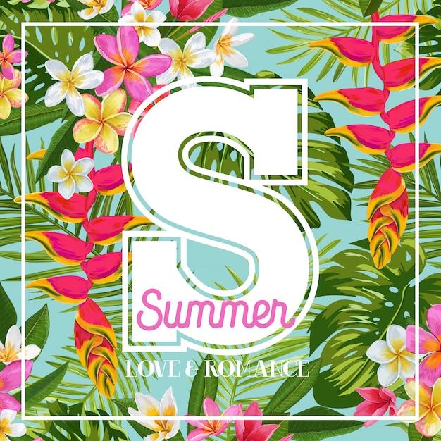 Amor de verão e romance, ilustração de flores tropicais Vetor Premium