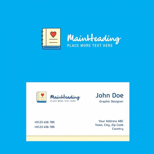 Amor diário logotipo com modelo de cartão. identidade corporativa elegante. - Vetor Premium