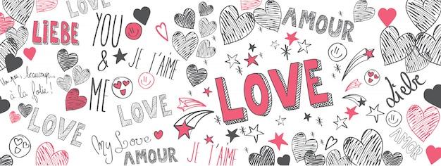 Amor doodles Vetor Premium
