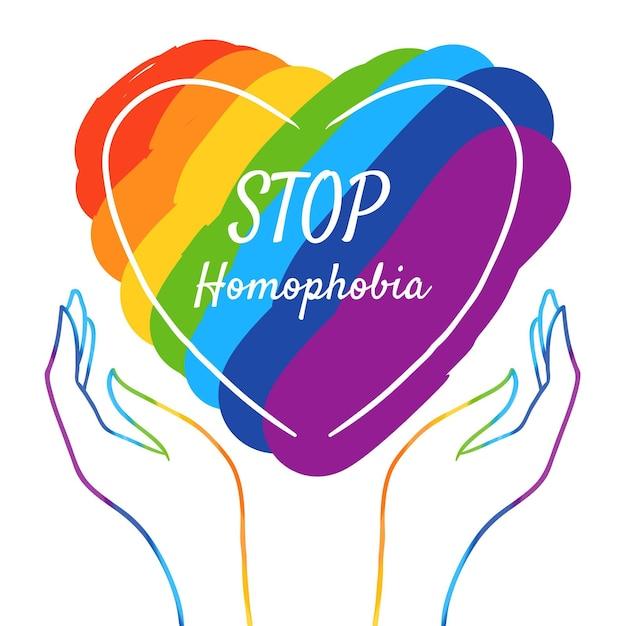 Amor e bandeira do orgulho param o conceito de homofobia Vetor grátis