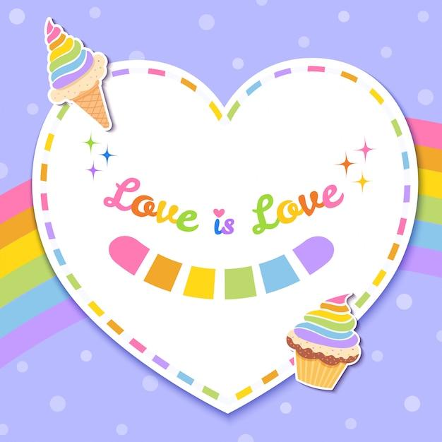 Amor é cartão de amor Vetor Premium