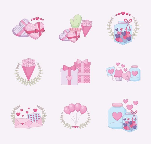 Amor e feliz dia dos namorados conjunto de ícones Vetor Premium