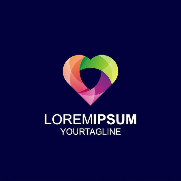 Amor escudo gradiente cor inspiração incrível logotipo Vetor Premium