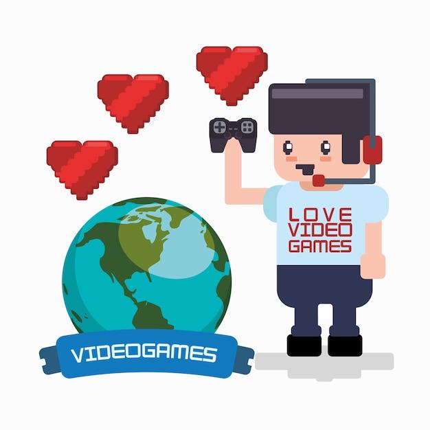 Amor jogos online jogador auricular gamepad corações mundo Vetor Premium