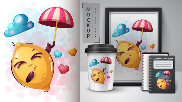 Amor, limão, ilustração Vetor Premium