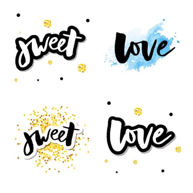 Amor logo vector rotulação slogan conjunto de caligrafia Vetor Premium