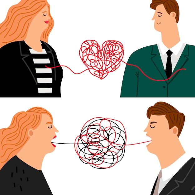 Amor odeio homem e mulher Vetor Premium