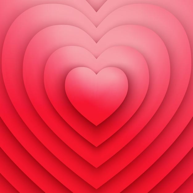 Amor ou saúde símbolo coração vermelho vetor abstrato Vetor Premium