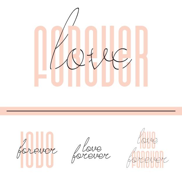 Amor para sempre cartão de citação de letras Vetor Premium
