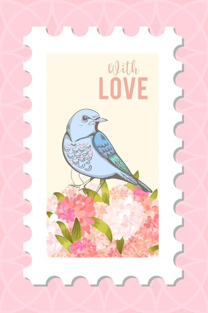 Amor pós carimbo com pássaro. Vetor grátis
