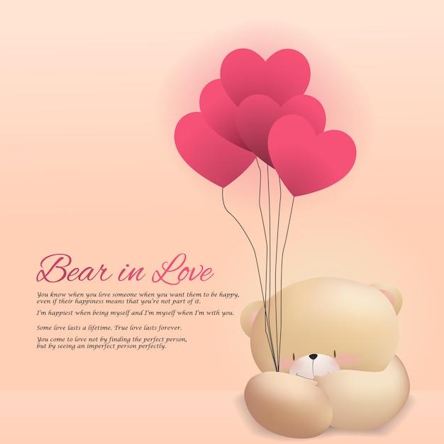 Amor urso feliz dia dos namorados papel de parede fundo rosa Vetor Premium