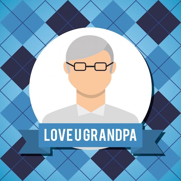 Amor vovô cartão com homem mais velho com óculos Vetor Premium