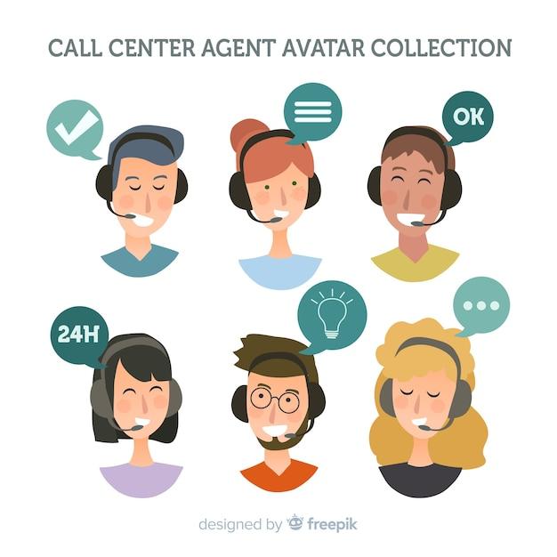 Amostra de avatar do call center Vetor grátis