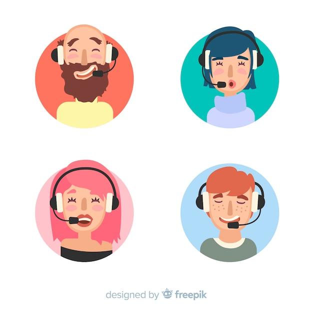 Amostra plana de avatares de call center Vetor grátis