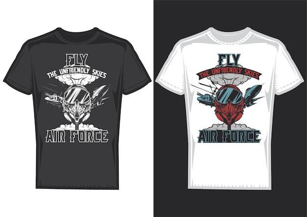 Amostras de design de camisetas com ilustração das forças aéreas Vetor grátis