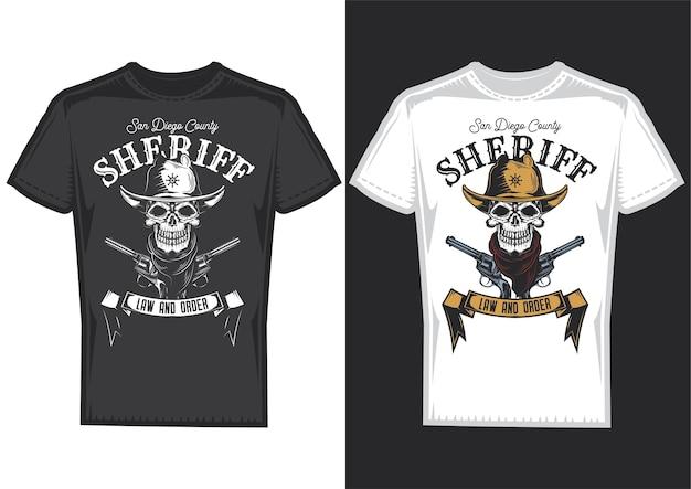 Amostras de design de camisetas com ilustração de um crânio de cowboy. Vetor grátis