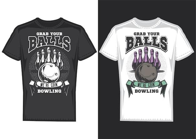 Amostras de design de t-shirt com ilustração de design de boliche. Vetor grátis