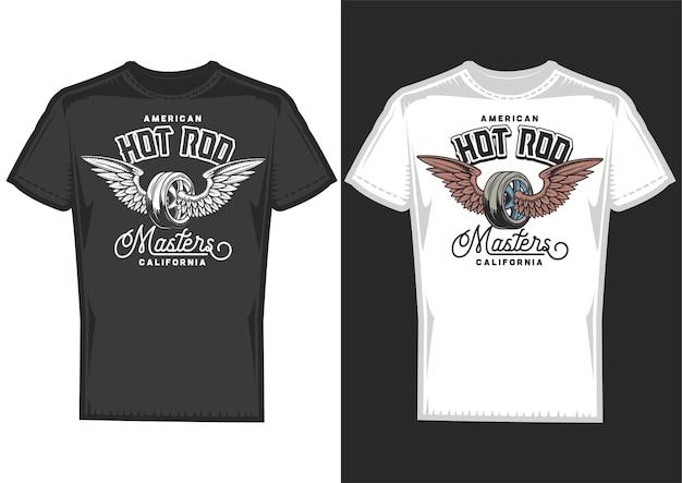 Amostras de design de t-shirt com ilustração de roda com asas. Vetor grátis