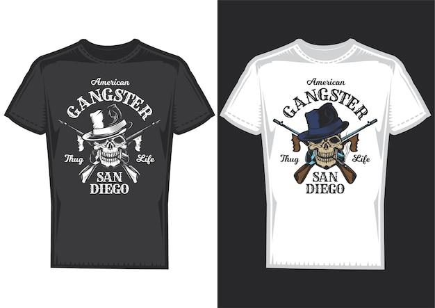 Amostras de design de t-shirt com ilustração de uma caveira com armas. Vetor grátis
