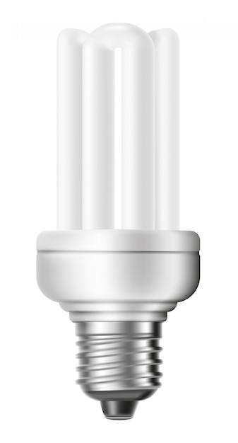 Ampola de poupança de energia fluorescente isolada no fundo branco. Vetor Premium