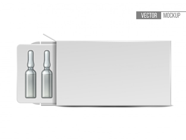Ampolas médicas de vidro transparente em embalagem branca. maquete realista de ampola com medicamento injetável. molde em branco do frasco. Vetor Premium