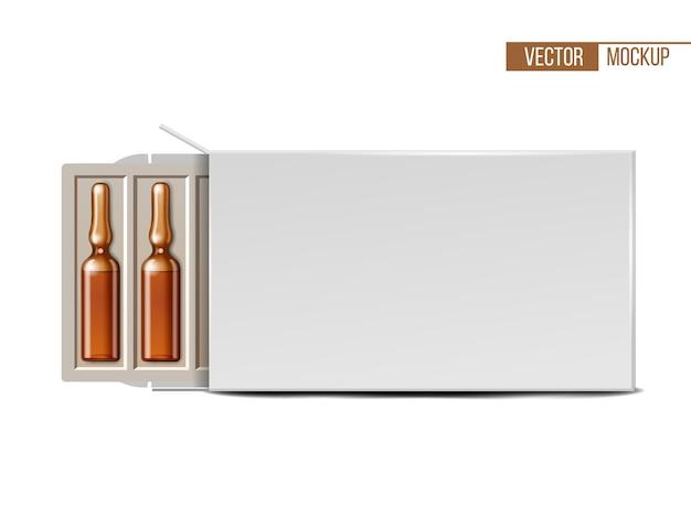 Ampolas médicas de vidro transparente em embalagem branca Vetor Premium