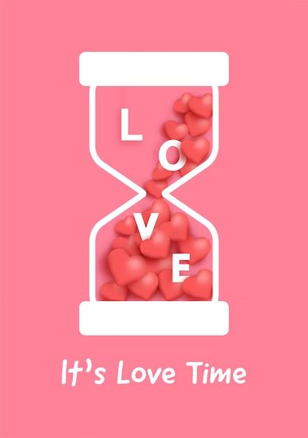 Ampulheta com corações vermelhos para cartão de dia dos namorados. Vetor Premium