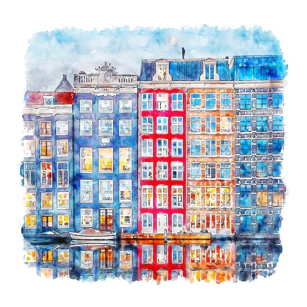 Amsterdam holanda esboço em aquarela. Vetor Premium