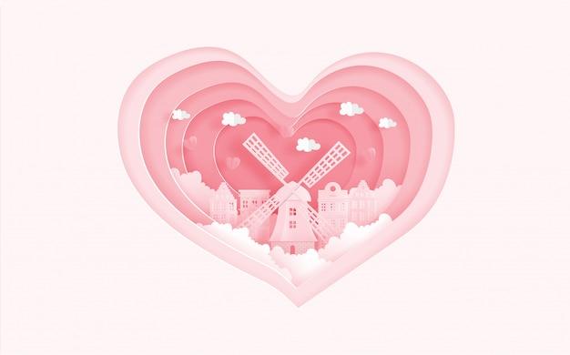 Amsterdão, marcos famosos da holanda no conceito do amor com forma do coração. cartão do dia dos namorados Vetor Premium