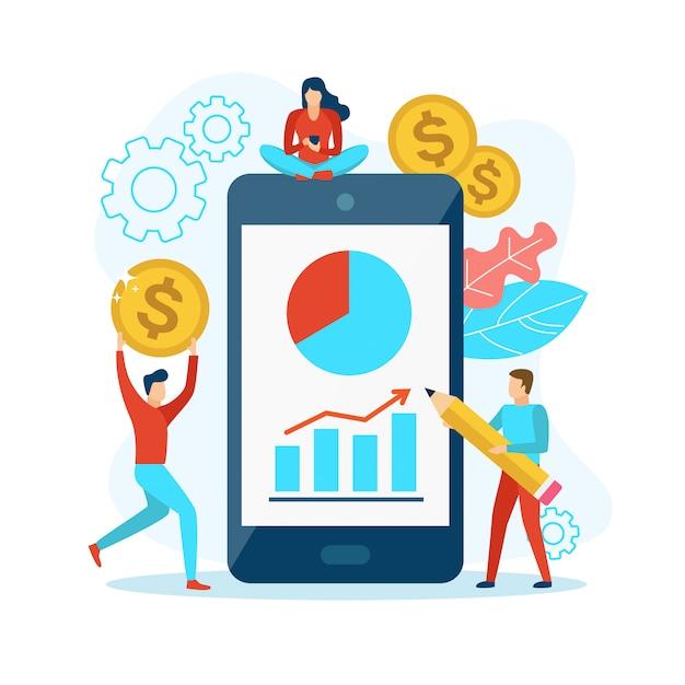 Analisar estatísticas no celular Vetor Premium