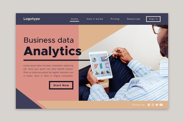 Análise de dados corporativos da página de destino Vetor grátis