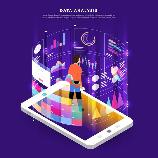 Análise de dados de marketing digital design plano conceito com gráfico gráfico. Vetor Premium
