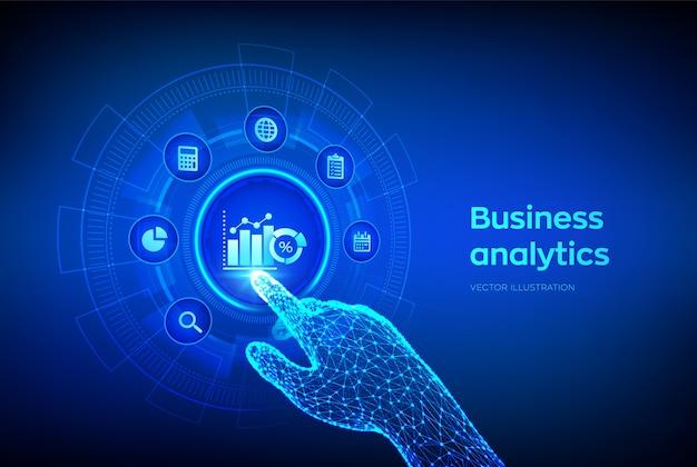 Análise de dados de negócios e conceito de automação de processos robóticos na tela virtual. interface digital tocante de mão robótica. Vetor Premium