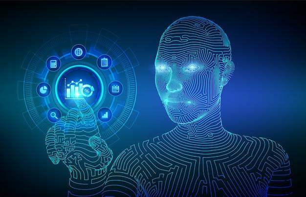 Análise de dados de negócios e conceito de automação de processos robóticos na tela virtual. mão de ciborgue wireframed tocando a interface digital. Vetor Premium