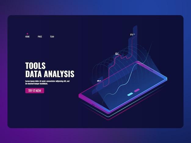 Análise de dados de serviço móvel e estatística de informação, relatório financeiro, ícone de banco on-line Vetor grátis