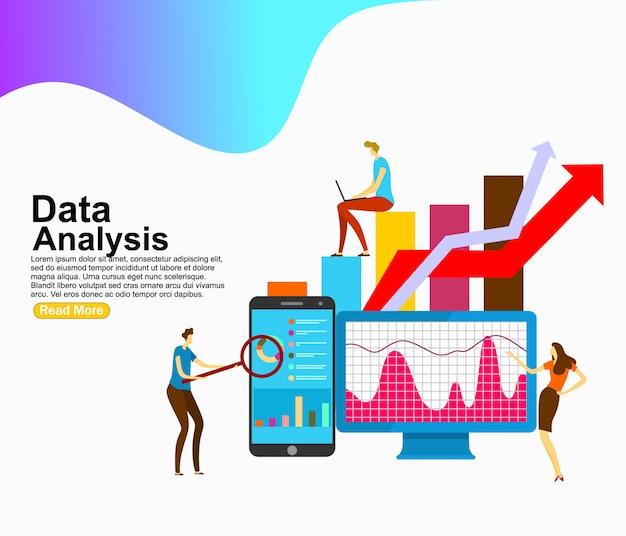 Análise de dados decorada personagem de pessoas. modelo de plano de fundo Vetor Premium