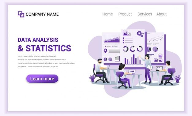 Análise de dados e estatísticas para o modelo da página de destino. Vetor Premium