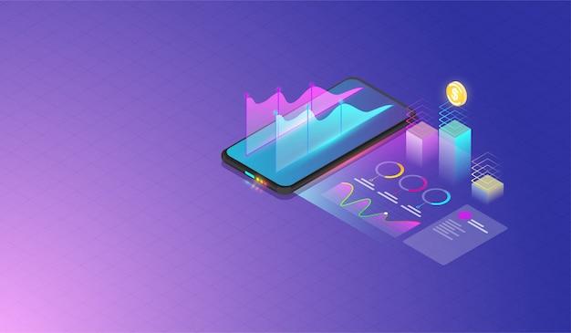 Análise de dados móveis e conceito de progresso Vetor Premium