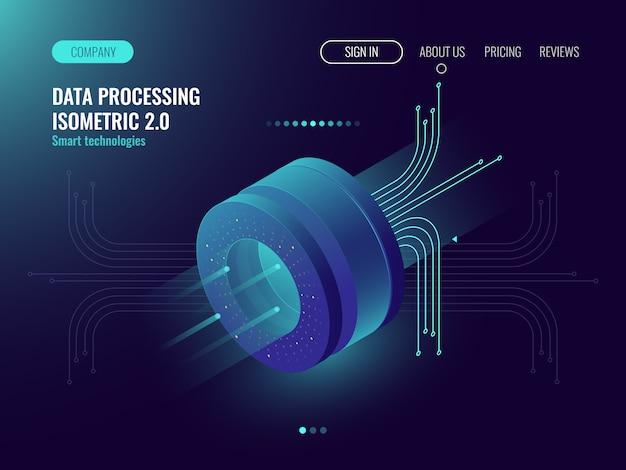 Análise de dados processando big data computing, fluxo de informações, laboratório de ciências digital Vetor grátis