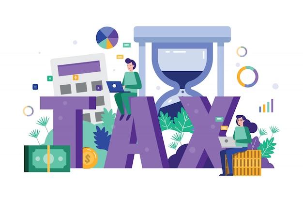Análise de equipe de negócios e dados fiscais de estratégia no prazo final do imposto. Vetor Premium