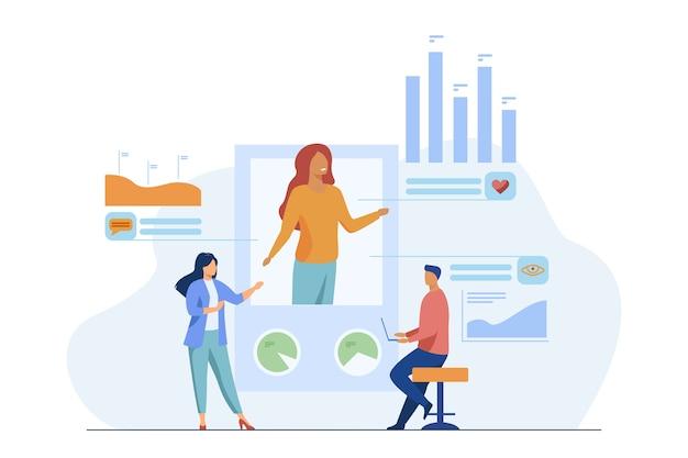 Análise de marketing de mídia social. gerentes analisando preferências de perfil, comentários e exibições de ilustração vetorial plana. internet, promoção, smm Vetor grátis