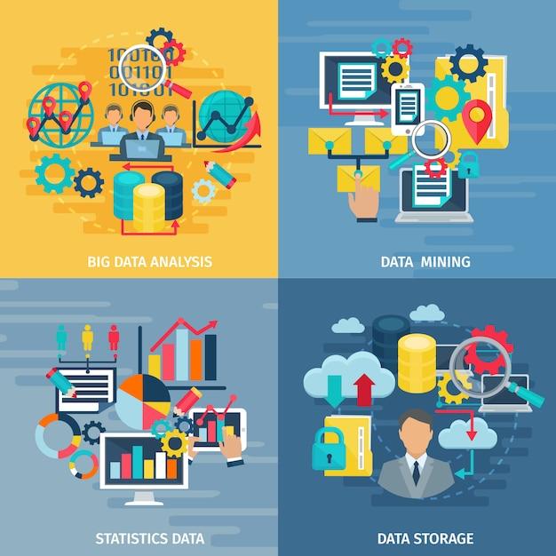 Análise de mineração de dados grande e tecnologia de armazenamento 4 bandeira de composição quadrada de ícones lisos Vetor grátis