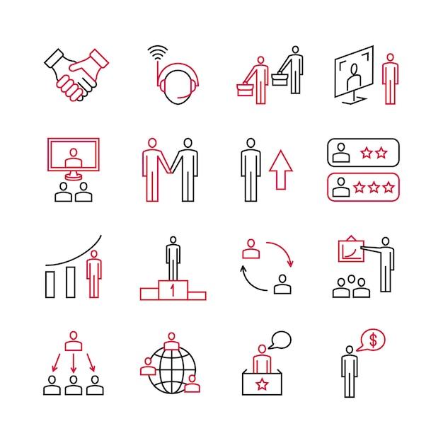 Análise de negócios e suporte especializado de ícones de clientes Vetor Premium