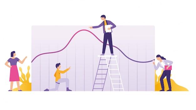 Análise de negócios, relatório financeiro e estratégia do trabalho em equipe Vetor Premium