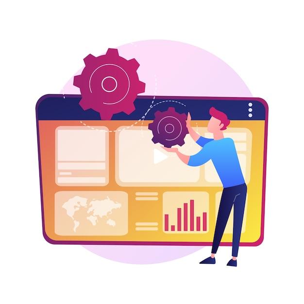 Análise de publicidade na internet. seo, marketing, relatórios infográficos. promoção digital, anúncio em redes sociais. promoção de conteúdo de vídeo. Vetor grátis