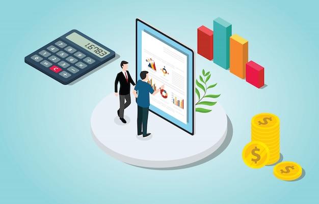 Análise de verificação financeira isométrica com gráfico de pessoas e dados Vetor Premium