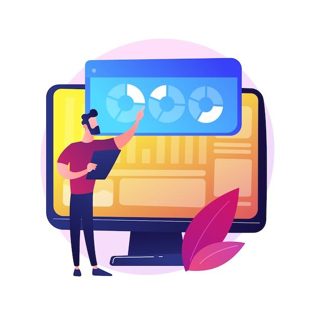 Análise do site. análise de relatórios de seo. gráficos de pizza, diagramas, tela do monitor do computador. apresentação anual de analistas de negócios e financeiros. Vetor grátis