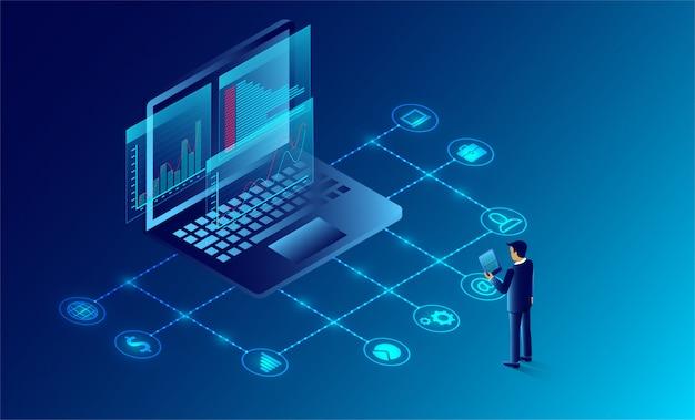 Análise e comunicação de negócios marketing contemporâneo e software para desenvolvimento. Vetor Premium
