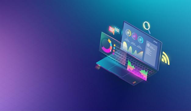 Análise financeira de negócios e pesquisando o conceito Vetor Premium